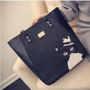 Women Leisure PU Handbag Eyes Pattern Cartoon Tote Bag