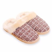 Unisex Plaid Flat Warm Indoor Home Shoes