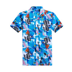 Plus Size Summer Mens Palm Trees Printing Quick Dry Short Sleeved Beach Shirts