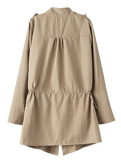 Causual Long Sleeve Pure Color Jeanette Coat Outerwear