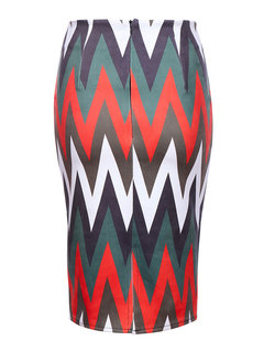 Sexy Geometric Patterns Printed Zipper Pencil Skirt For Women
