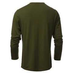 Men's Fashion Bottons O-neck Solid Multicolor Slim Fit Long-sleeved T-shirt