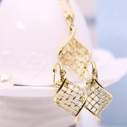 Jewelry Set Alloy Hollow Leave Rhinestone Necklace Earrings Set