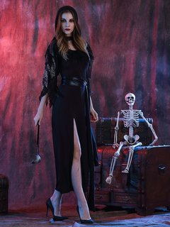 Goths Evil Witch Bodycon Split Sexy Cool Girls Halloween Costumes Halter Dress With Hat Cape And Bel