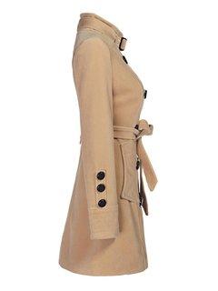 OL Camel двубортное Длинные Тренч Женщины пальто