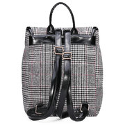 Retro Casual British Preppy Style Women Plaid Backpack