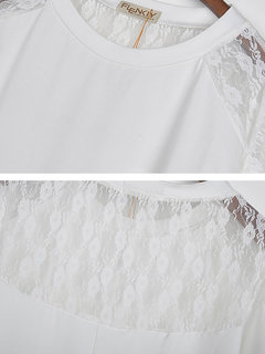 Batwing Lace  Loose Long Sleeve O-Neck T-Shirt For Women