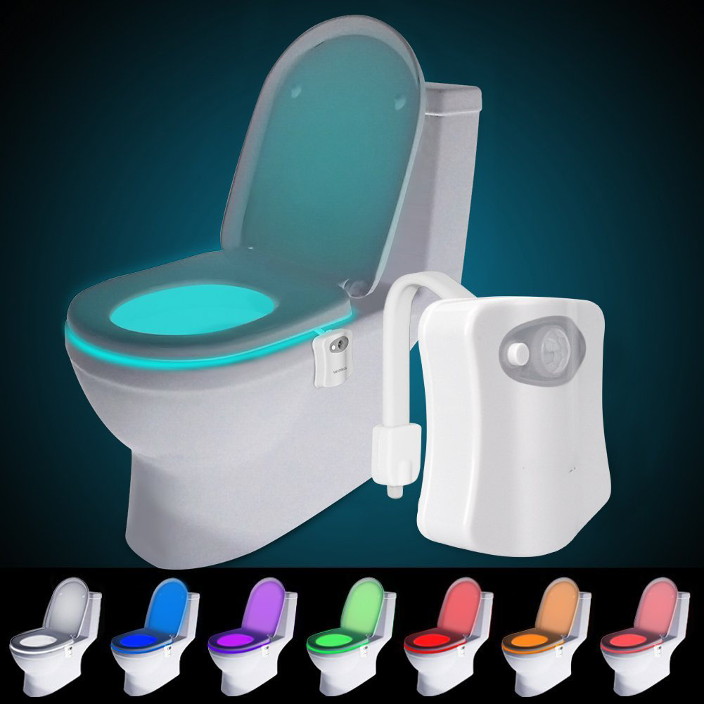 Bathroom Night Light 8 color usb charge toilet night light bathroom motion activated