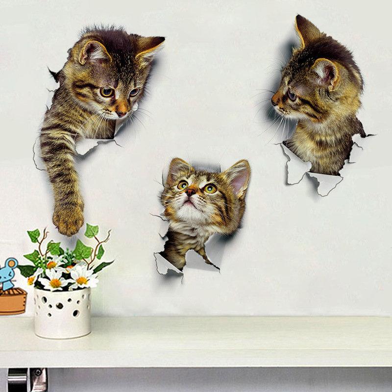 cat bedroom. Cute Cat Wall Stickers Living Room Bedroom Decorations Creative 3D Animal  Bathroom