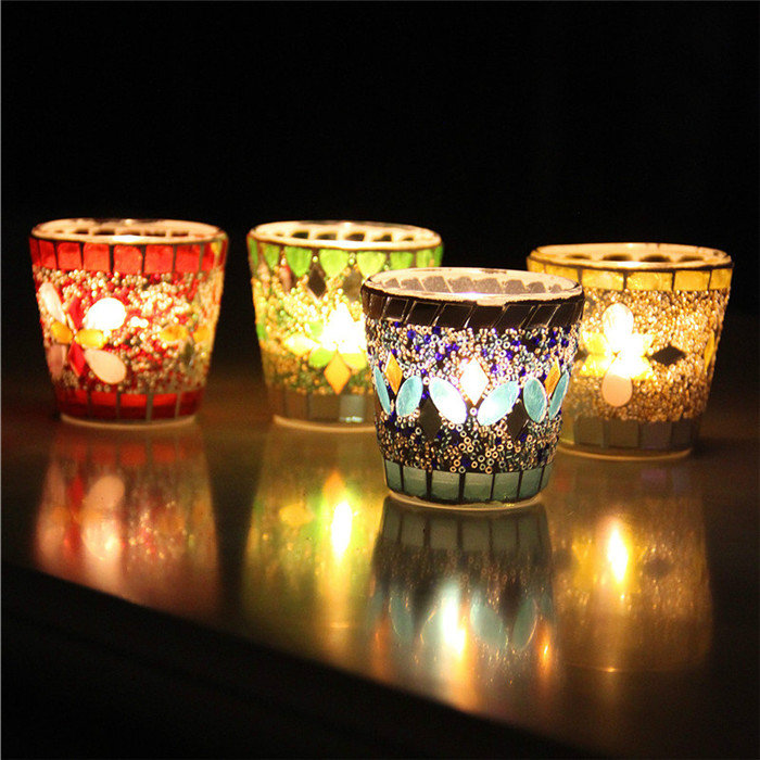 Handcrafted Mosaic Glass Beads Sequin Candlestick Candle Holder Candelabra Decor