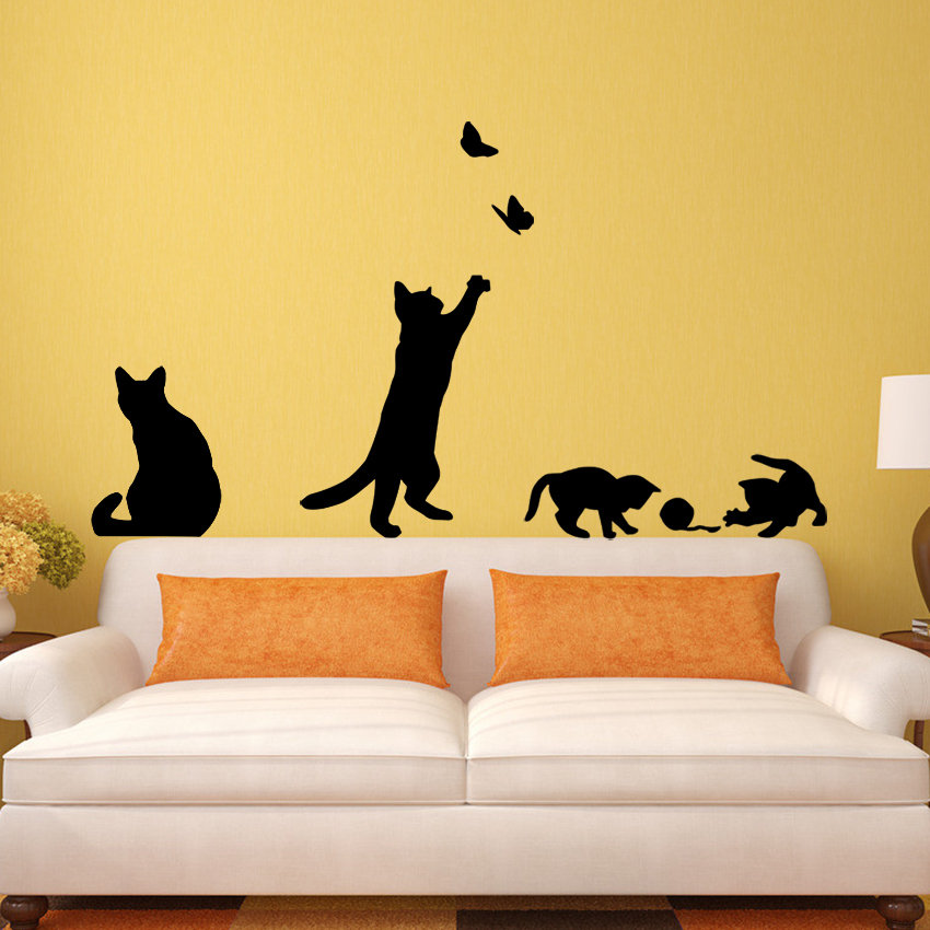 Cat play Butterflies Wall Sticker Removable Decoration Decals for ...
