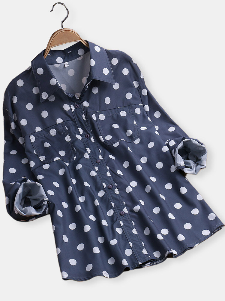 a76bf20510a6a Polka Dot Lapel Long Sleeve Wrinkle-free Shirts - Newchic