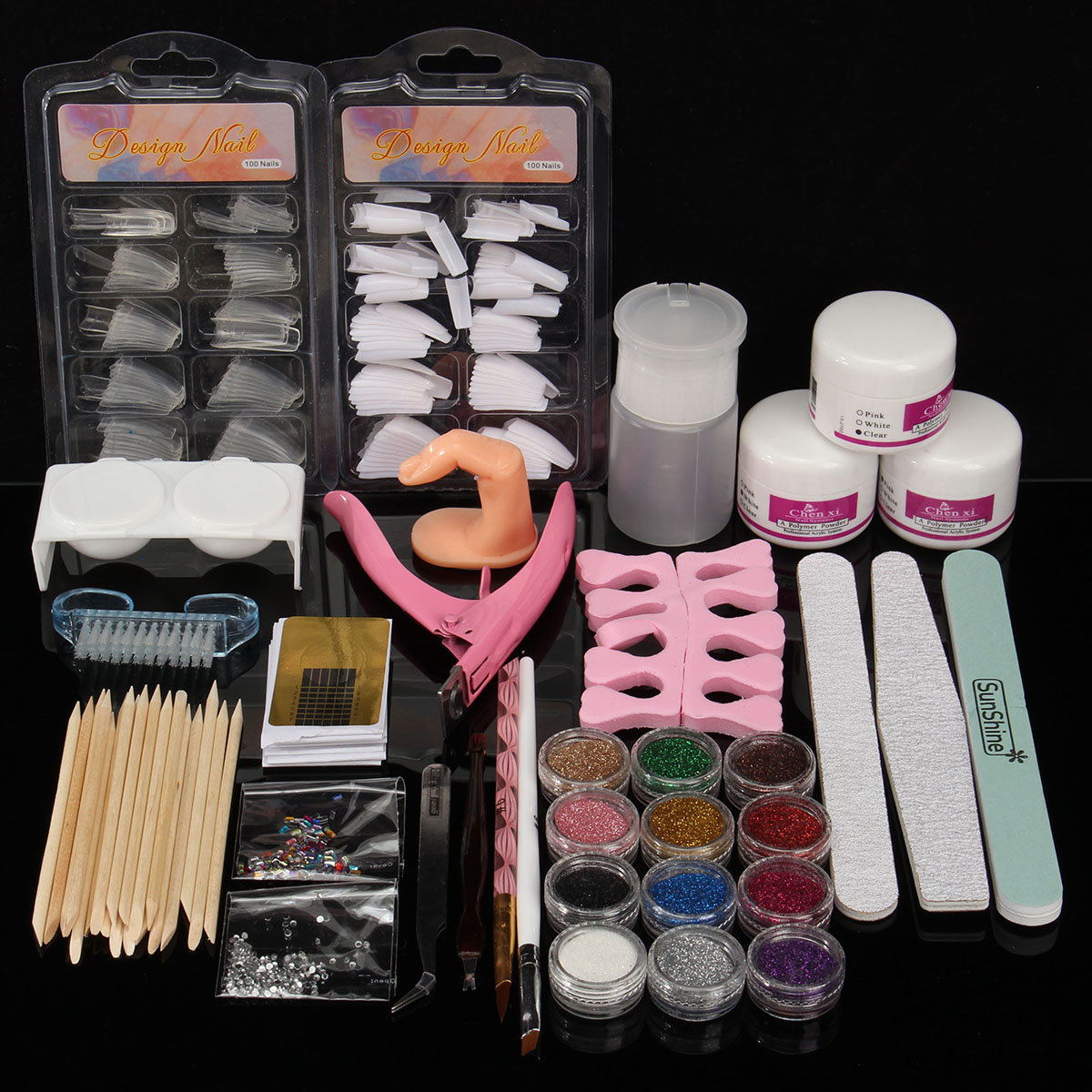 Acrylic Powder Glitter Nail Art Tools Kit Nails Brush False Finger ...