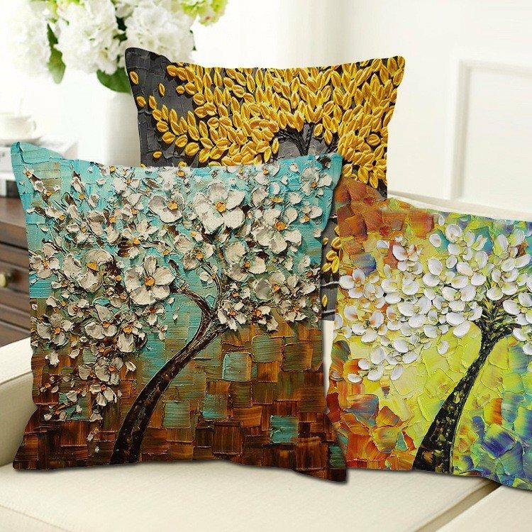 Favorable 27 Styles 3D Vintage Flower Cotton Linen Pillow Case Waist ...