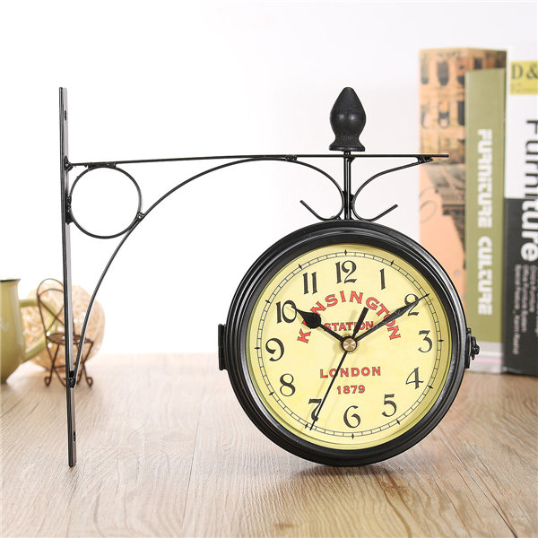 Vintage Double Sided Bicycle Wall Clock Metal Frame Glass Antique ...