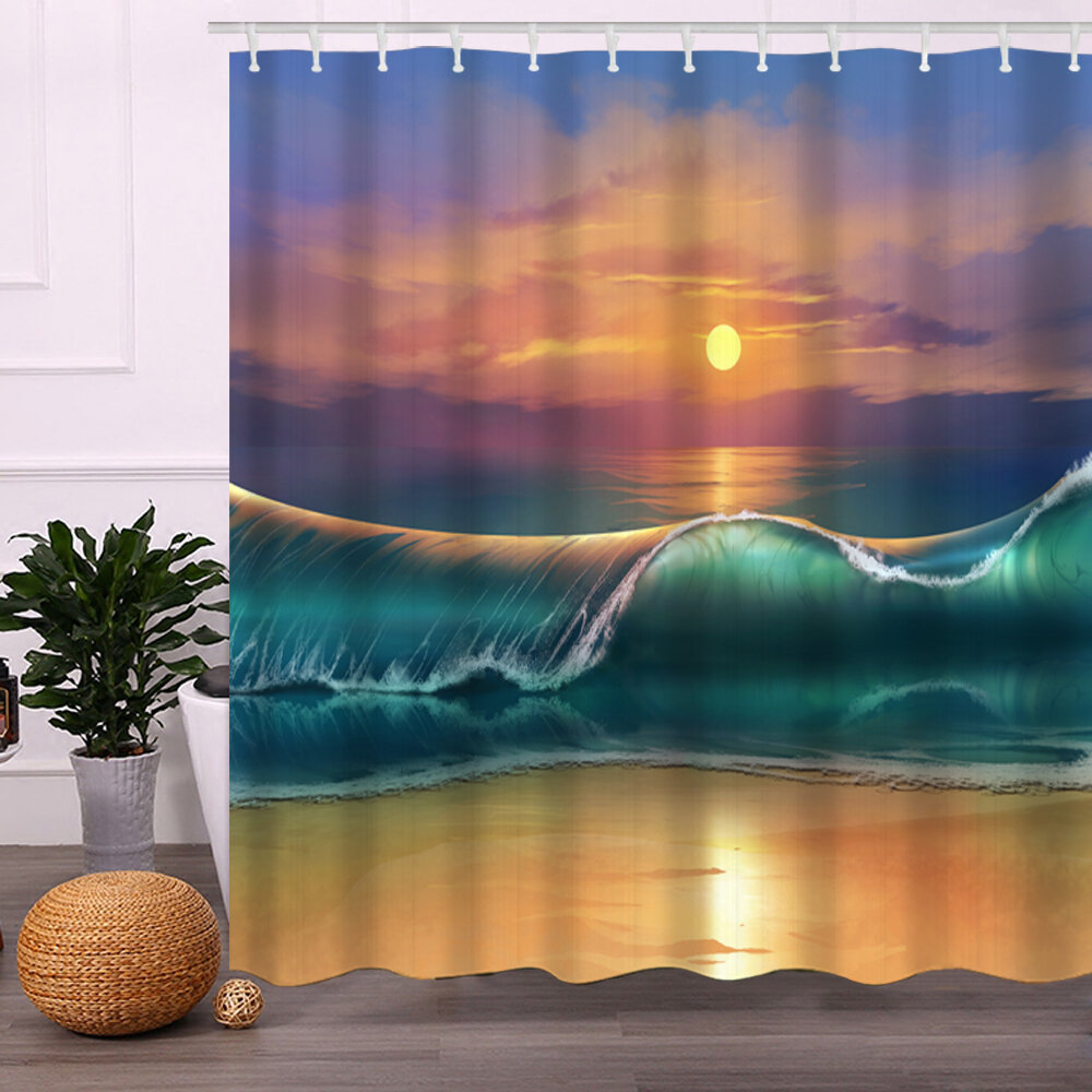 Seascape Ocean View Waterproof Bathroom Shower Curtain Impressao Digital 3D Com 12 Ganchos