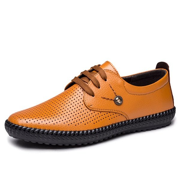 Men Hand Stitching Hole Breathable Soft Sole Lace Up Casual Shoes