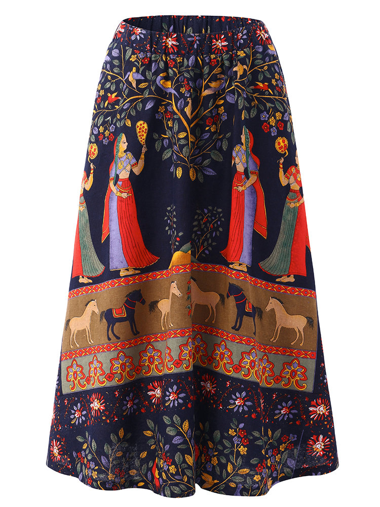 O-NEWE Casual Elastic Waist Half Skirt Print Skirt For Women