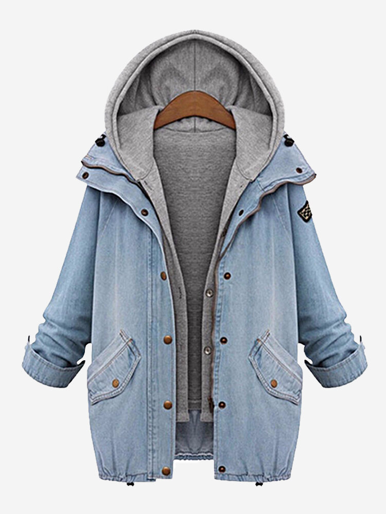 Casual Denim Drawstring Twinset Hooded Women Jacket Outerwear ...