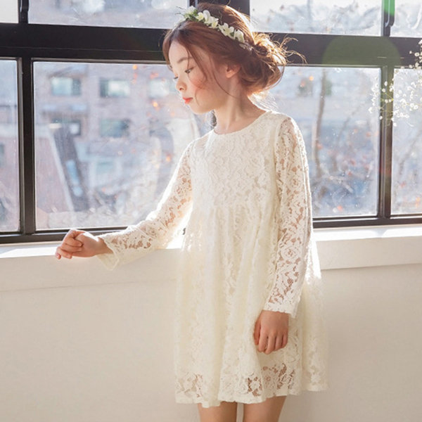 Baby girls white flower lace dresses childrens party clothing solid baby girls white flower lace dresses childrens party clothing solid kids dress for girls mightylinksfo