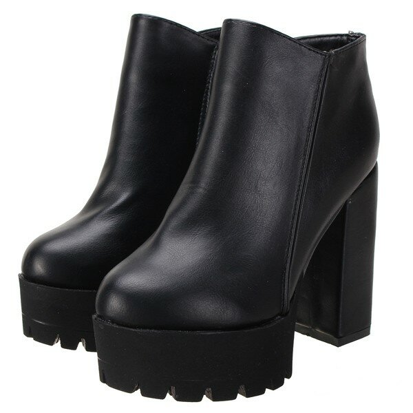 Designer Black Pu Zipper Ankle Chunky Heel Boots - NewChic