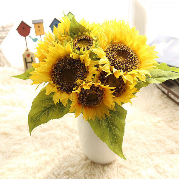 7 heads real touch sunflower artificial fake flowers plants bouquet