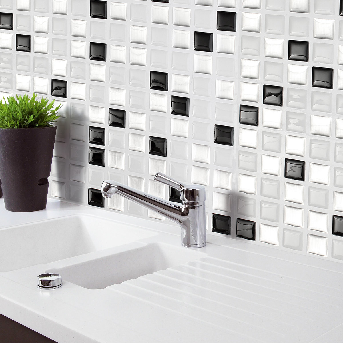 Negro y Blanco y Gris Mosaico 3D pegatinas de pared Backsplash Tile ...
