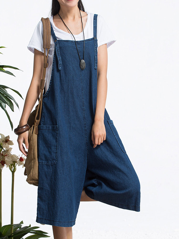 O-Newe Loose Pure Color Strap Pocket Jumpsuit Trousers Overalls For Women