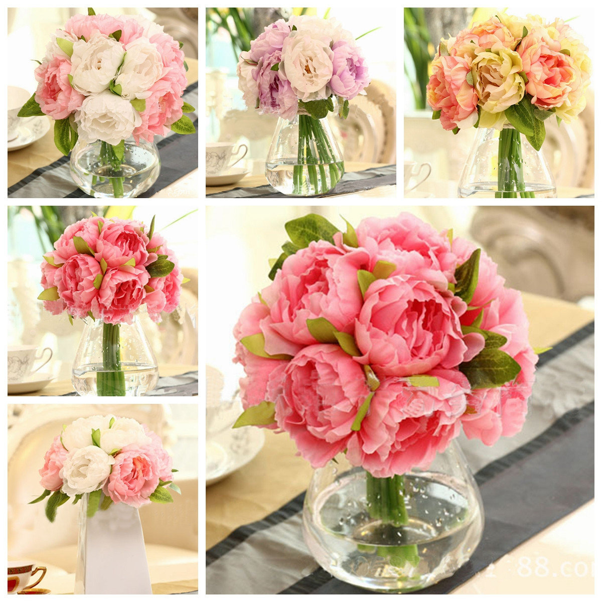 10 Heads Artificial Silk Flower Peony Wedding Bouquet