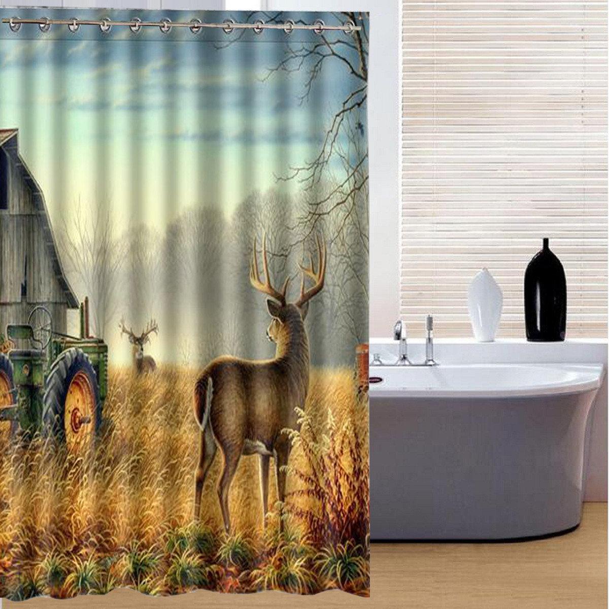 150x180cm Sika Deer Pringting Rideau De Salle De Bain Imperm Able