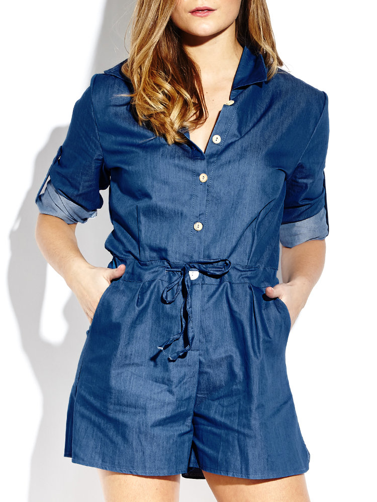 Drawstring Long Sleeve Button  Short  Women Denim Jumpsuit