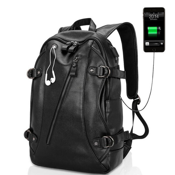 PU Leather Backpack Casual Travel Waterproof External USB Charge ...