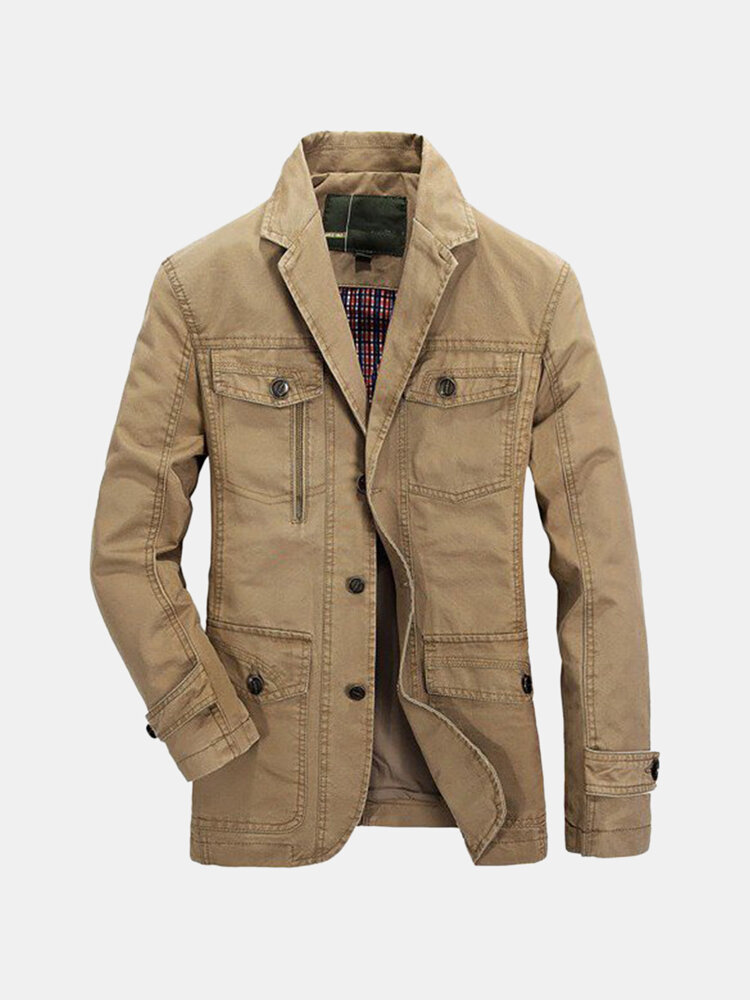 Plus Size Mens Outdoor Jacket Solid Color Casual Business Cotton Coat