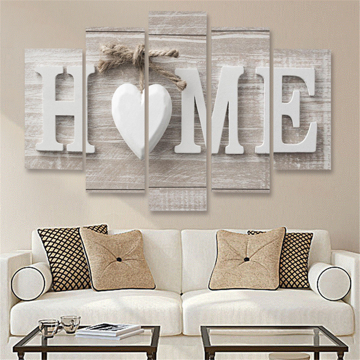 Nice 5 Panels Love HOME Wall Art Print Pictures Canvas Wall Art Prints Unframed