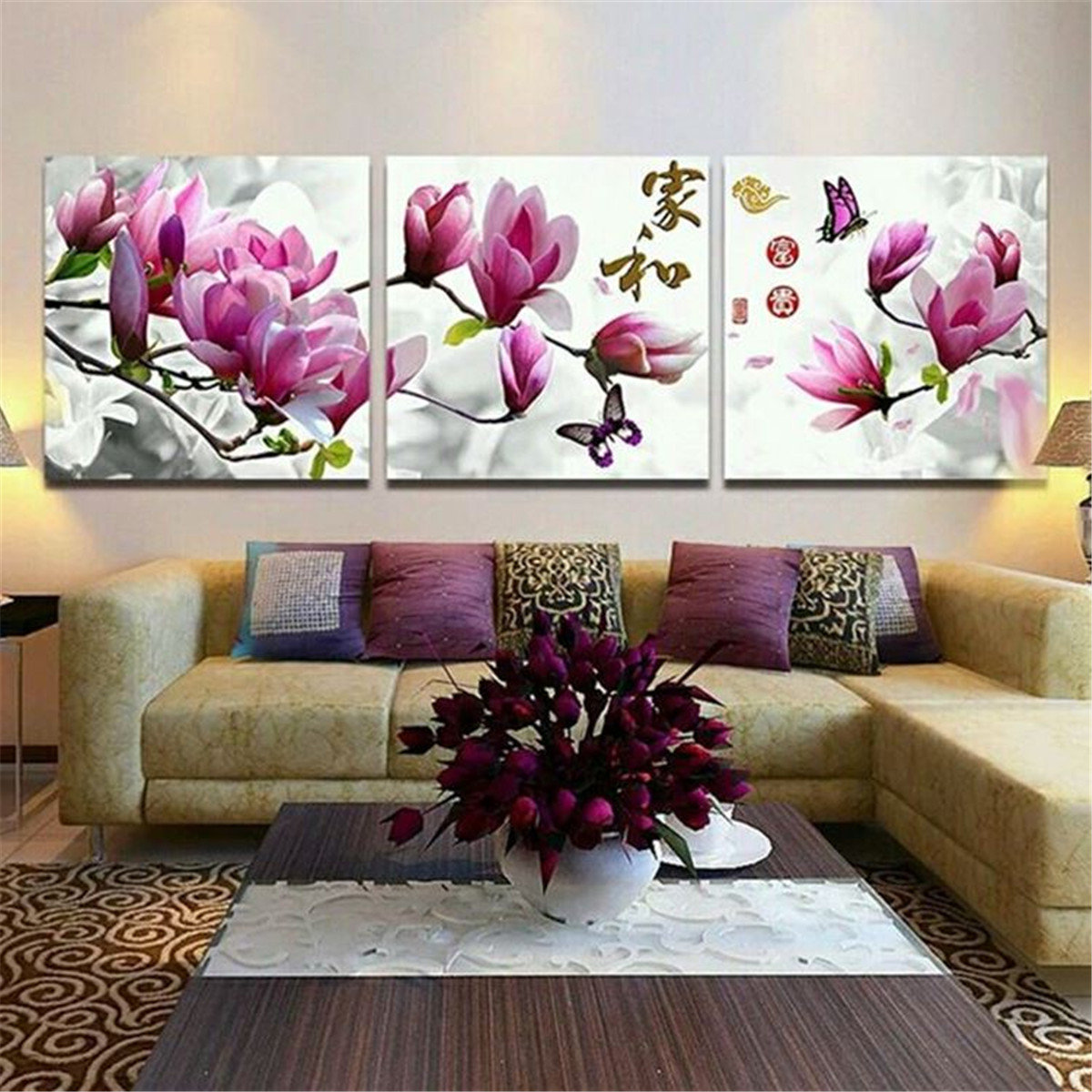 3Pcs Framed Flower Abstract Picture Canvas Print Paintings Home ...
