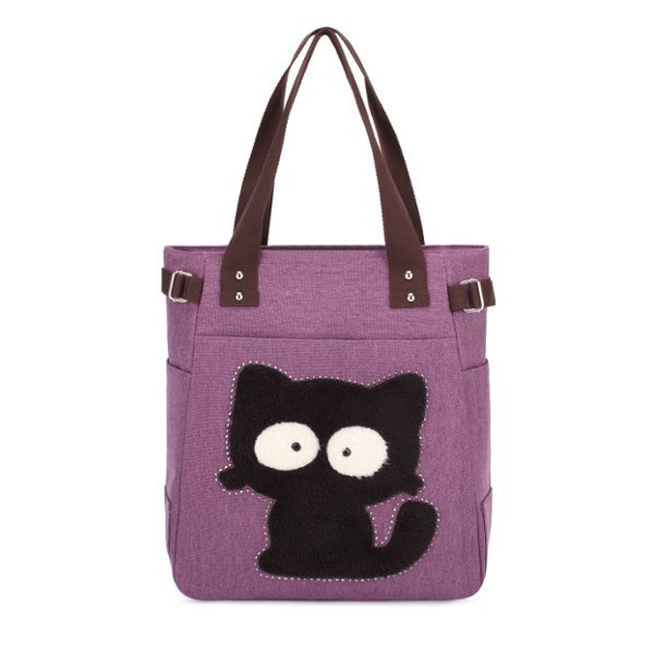Women Cartoon Cute Cat Handbags Large Capacity Sweet Shopping Handbags Leisure Shoulder Bags