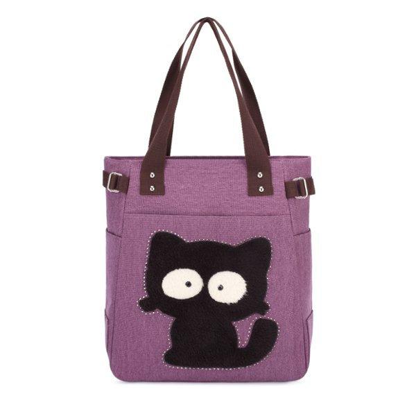 Women Cartoon Cute Cat Handbags Large Capacity Sweet Shopping Handbags Leisure Shoulder Bags