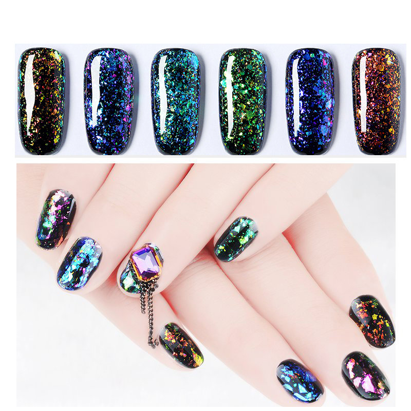 6 Colors Glitter Brocade UV Gel Magic Chameleon Sequins Soak-Off Nail Art Polish Set