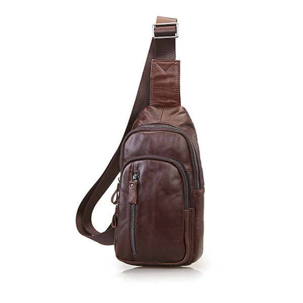 Genuine Leather Chest Bag Multi Pocket Crossbody Bag Sling Bag For ...