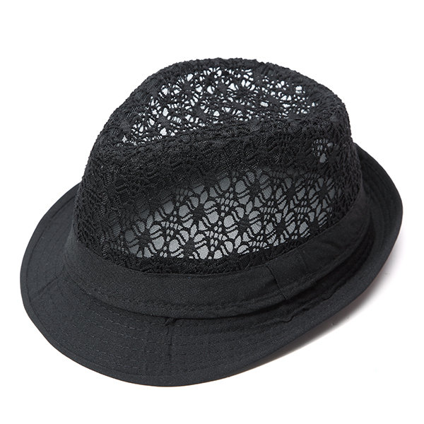 51bca03815 Men Hollow Breathable Cotton Fedora Hat Travel Casual Sunshade Beach Jazz  Cap - NewChic