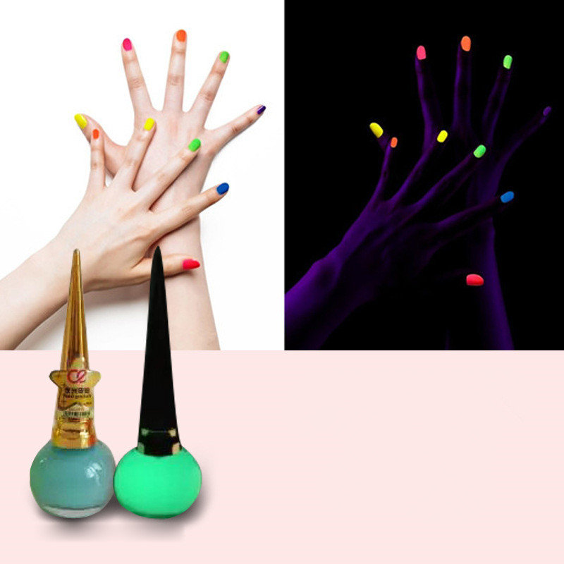 12 Colors Luminous Nail Polish Fluorescent Glow Jelly Candy Color ...