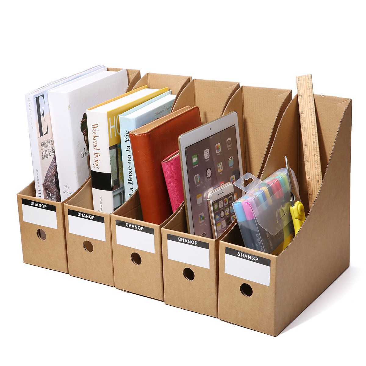 5 File Storage Box Folder Frame Office Kraft Paper Table