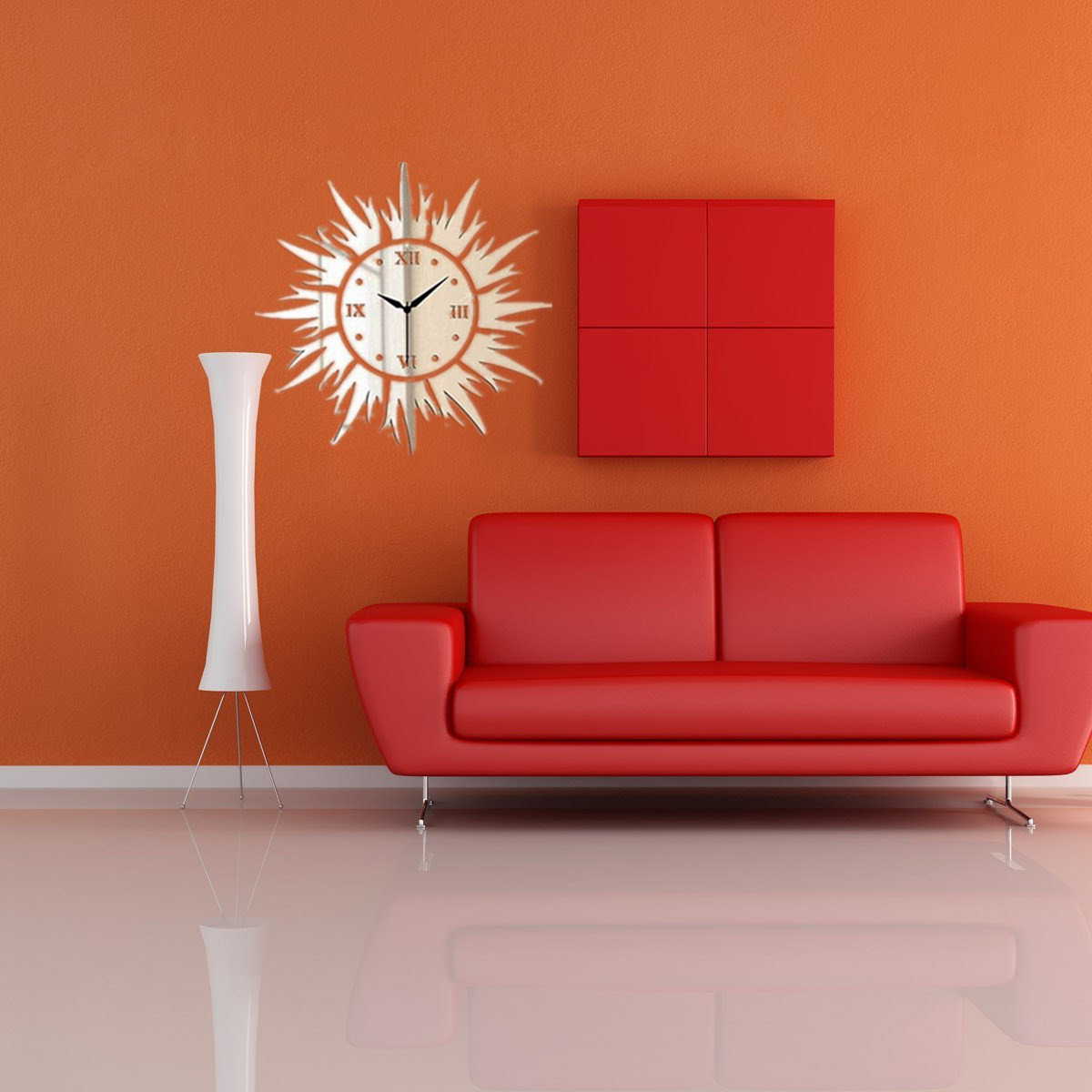DIY 3D Sun Shape Mirror Wall Clock Wall Stickers Home Decor Part 88