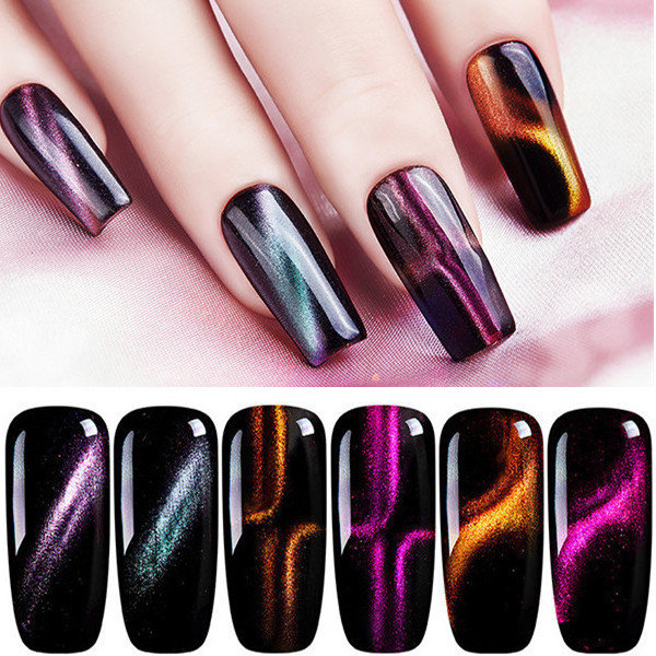 3D Magnetic Nail Polish Cat Eye Effect Chameleon Nail Gel Soak-off ...