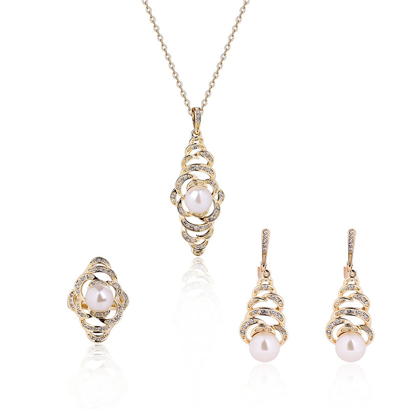 Trendy Jewelry Set Pearl Rhinestone Special Earrings Ring Necklace ...