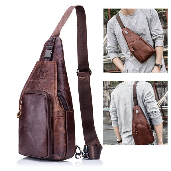 BULLCAPTAIN Genuine Leather Business Casual Chest Bag Crossbody ...