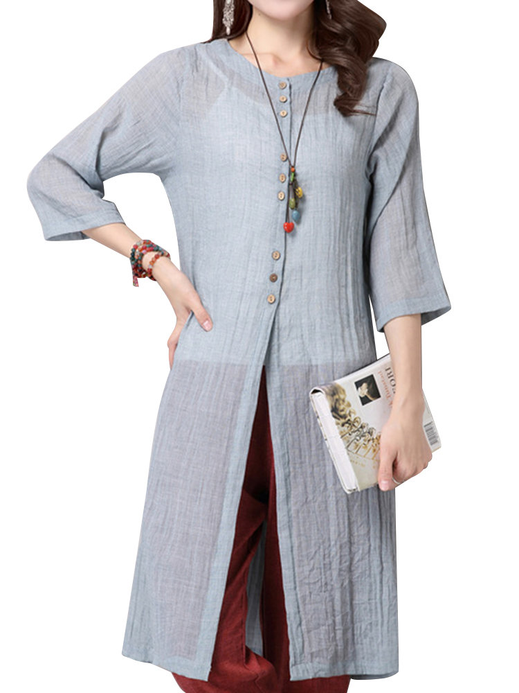 Elegant Women Solid Button Long Thin Cardigan Cheap - NewChic