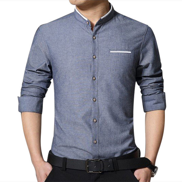 Designer Men's Business Solid Color Stand Collar Cotton Casual ...