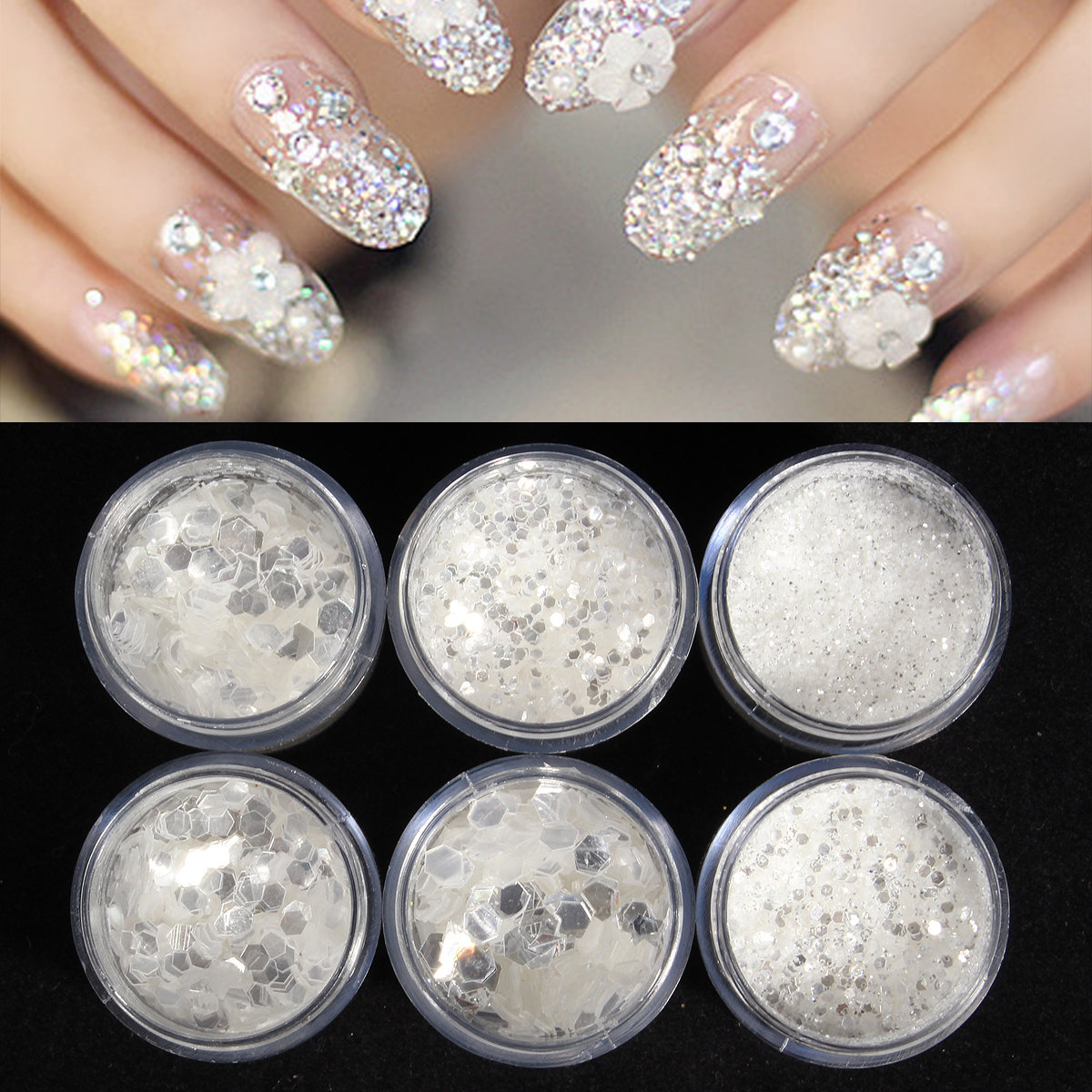 6 Boxes/Set Nail Art Glitter Powder Dust Sequin White Silver Manicure  Decoration - 6 Boxes/Set Nail Art Glitter Powder Dust Sequin White Silver
