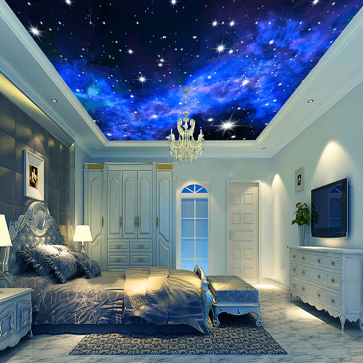 3d wallpaper mural night clouds star sky wall paper for Mural lighting